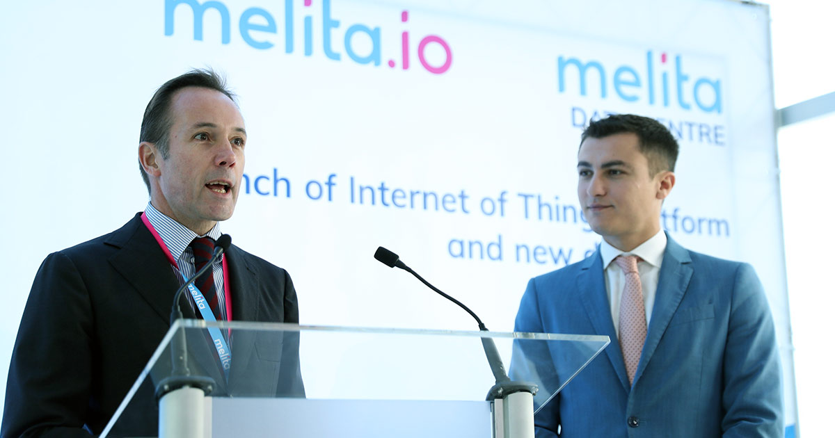 Melita CEO Harald Roesch (left) together with Parliamentary Secretary, Hon Silvio Schembri during the launch of melita.io and Melita's second data centre.