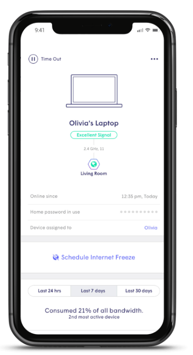 Freeze internet for family time. Advanced parental controls let's you set schedules or block access to specific sites.