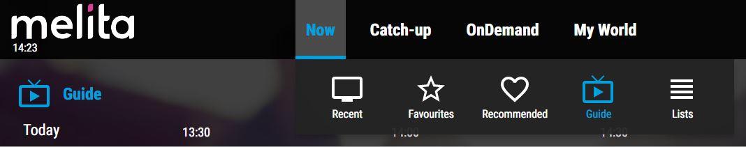 Selecting 'Now' on NexTV App