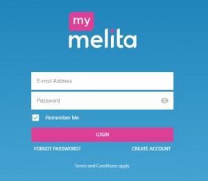 MyMelita log in screen