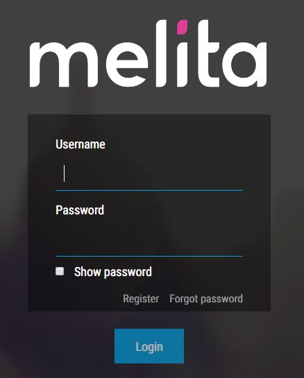 Melita NexTV App login window