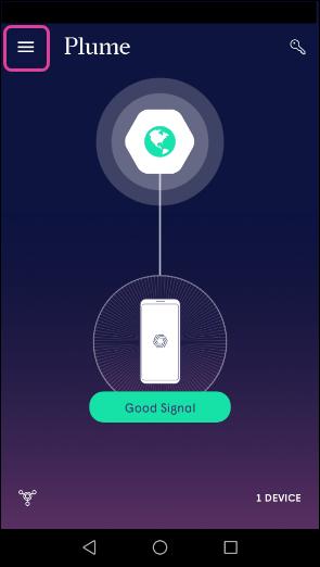 Plume App - Main menu