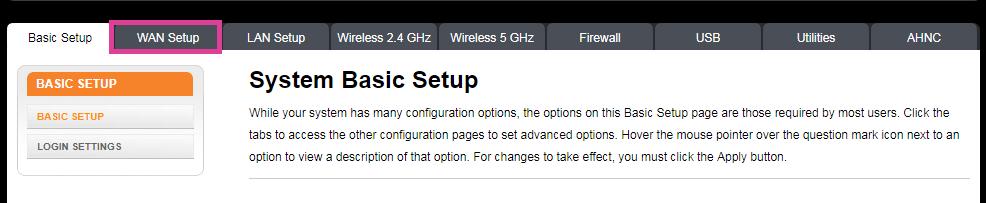 Interface - selecting 'WAN setup'