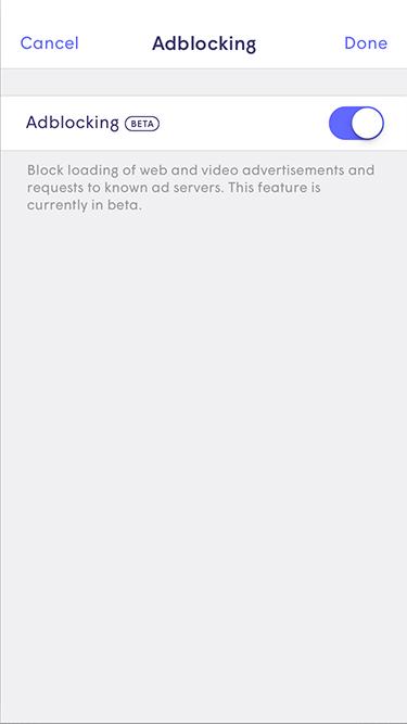 Plume App - Enabling Adblocking