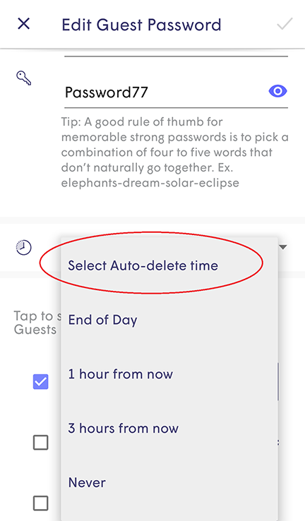 Plume App - Selecting auto-delete time