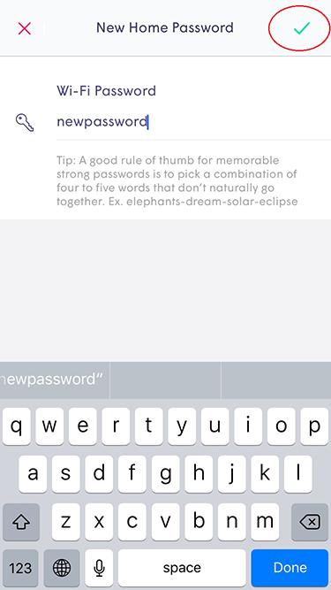 Plume App - new home password check mark