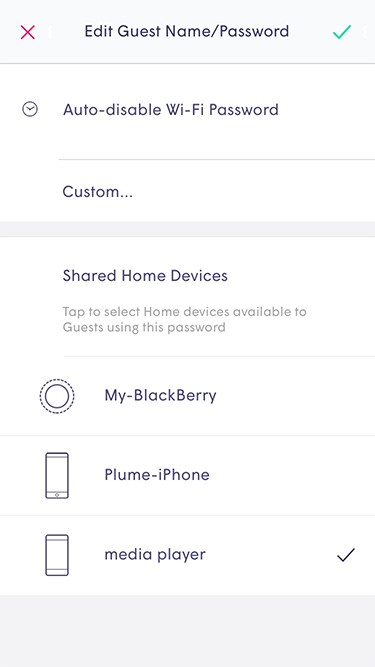 Plume App - editing guest name and password