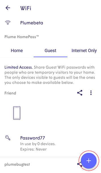 Plume App - plus icon