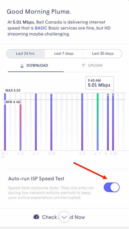 Auto run speed test