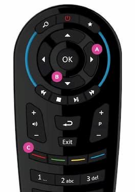 Arrow keys on remote control