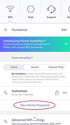 Plume App - New home password