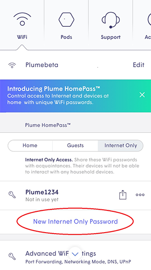 Plume App - HomePass new internet only password