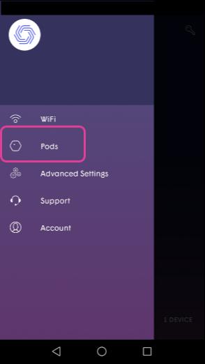 Plume App - Pods menu