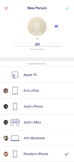 Plume App - New person profile