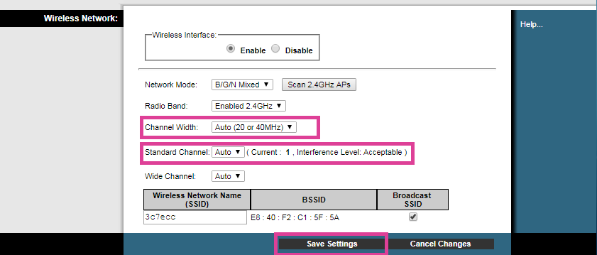Changing channel width and channel to auto