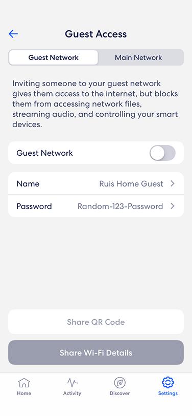 eero app - guest access