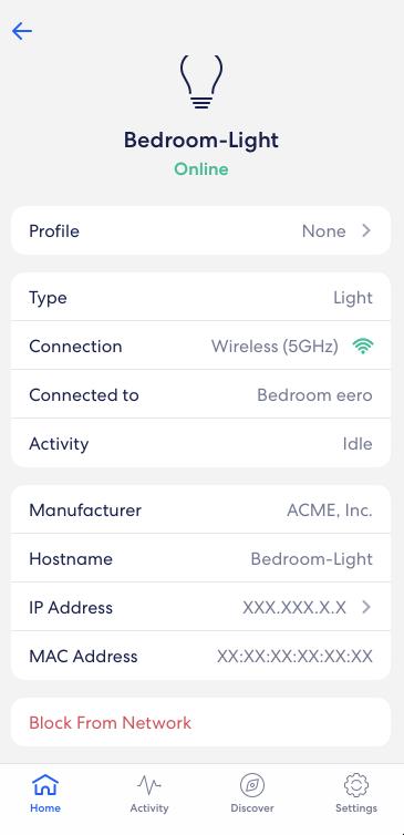 eero app - details about online device