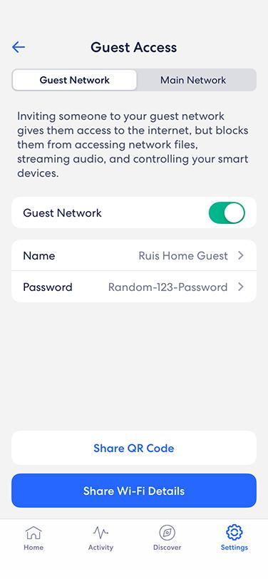 eero app - guest access on