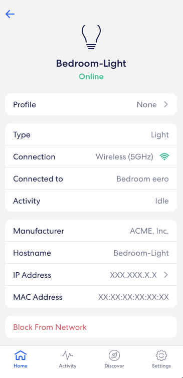 Device details page