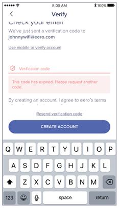 Expired code error - eero app